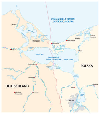 vector map of the Szczecin Lagoon in the estuary of the Oder River in the Baltic Sea Ilustração