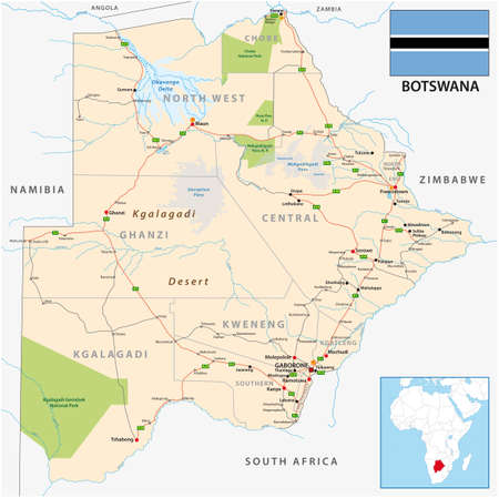 Roads and administrative vector map of Botswana Векторная Иллюстрация