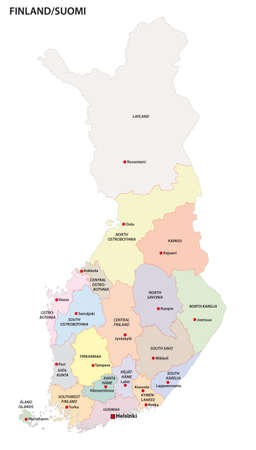 administrative and political vector map of the 19 regions of Finland