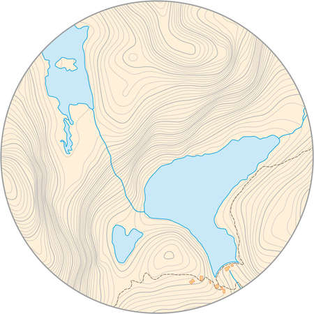 fictional round topographic vector map with elevation lines and yellow background