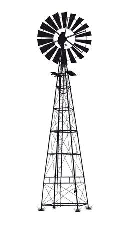 detailed black vector windmill illustration on white background