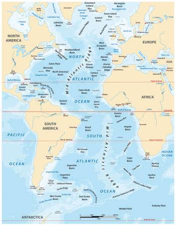 detailed vector map of the Atlantic Ocean