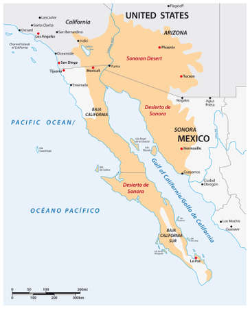 Vector map of the Sonoran Desert, Mexico, United States