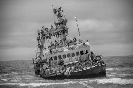 Shipwreck Zeila near Henties Bay on the Skeleton Coast of Namibia