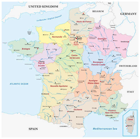 vector map France with the regions, rivers and the most important cities