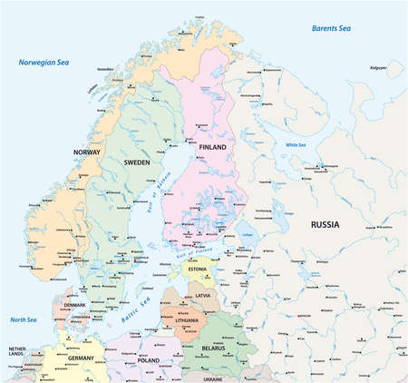 Vector map of Northern Europe with the most important cities and bodies of water