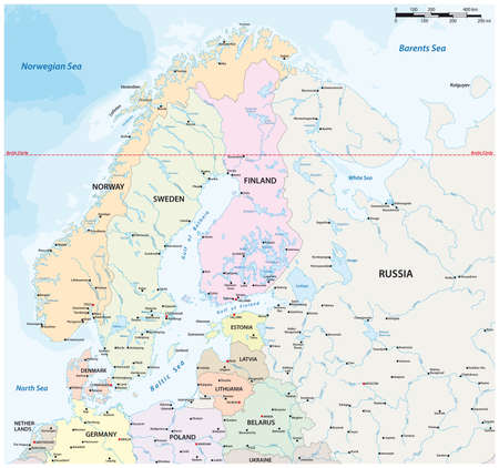 vector map of northern europe with major cities and bodies of water