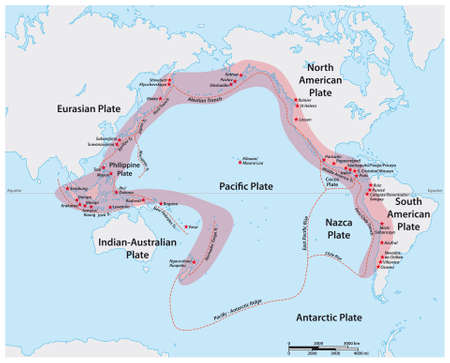 Vector map of the Pacific Ring of Fire with the main volcanoes