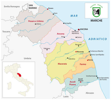 marche administrative and political map with flag