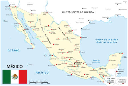 Map of Mexico with national borders, main cities and rivers Ilustración de vector