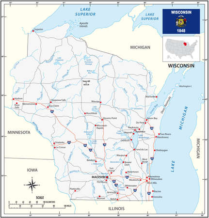 Road map of the US state of Wisconsin with flag Vettoriali