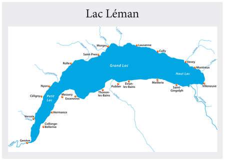 small outline map of Lake Geneva, Switzerland, France Vektorgrafik