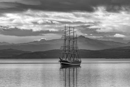 Large sailing ship in the port of Ushuaia, Patagonia, Argentina