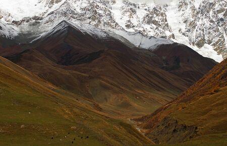 Breathtaking mountain view of snowy Georgian mountain peaks around Ushguli village and brown valley at autumn time. Svaneti, Georgia Standard-Bild - 140372350