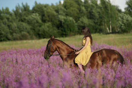 Beautiful woman with long hair in yellow dress riding bareback a brown horse in among purple flowers in green field Reklamní fotografie