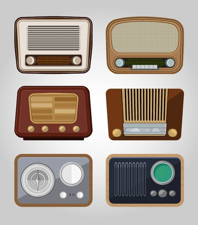set of vector old radios Vector