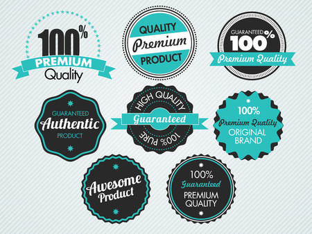 set of vintage sale and promotion badges, vector illustration Çizim