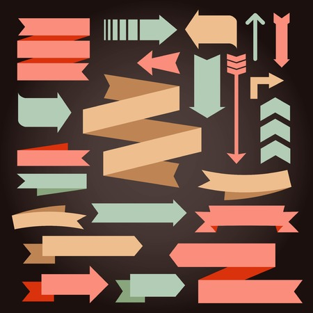 set of vintage arrows and ribbons, vector illustration
