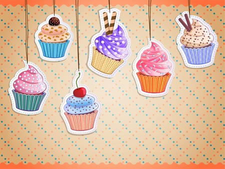 cartoon party: delicious cupcake stickers on colorful background, vector illustration