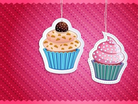 sugar cookies: delicious cupcake stickers on colorful background, vector illustration
