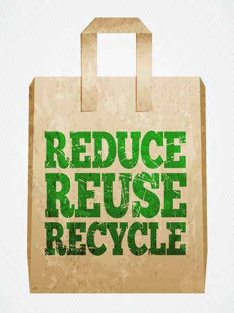 recycle bag: reduce, reuse, recycle, paper bag, vector illustration Illustration