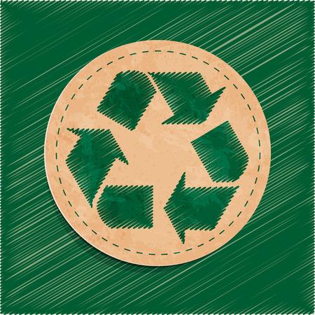 reciclable: etiqueta vector reciclar