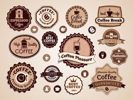bakery price: set of vintage coffee shop badges, vector illustration
