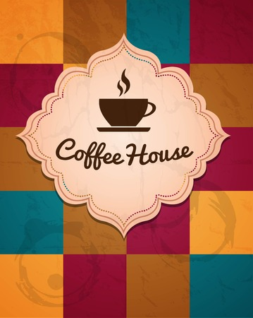 cup of coffee logo on a geometric background, vector illustration Ilustrace
