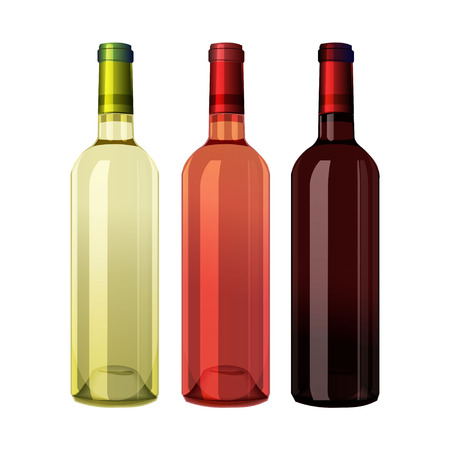 Set of white, rose, and red wine bottles