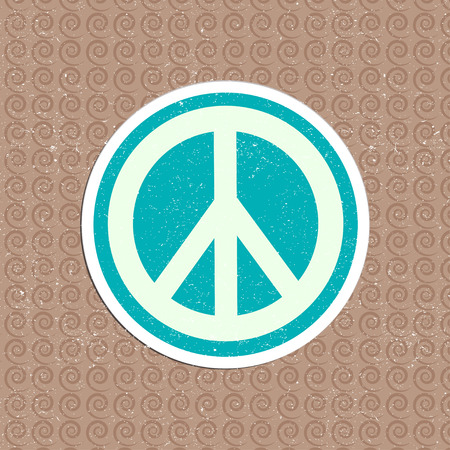 peace label: vector vintage peace sticker Illustration