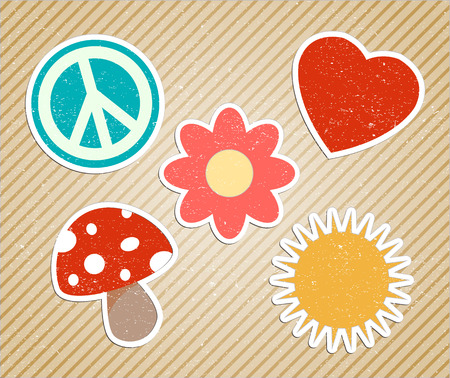 hippies: vector vintage hippies sticker Illustration