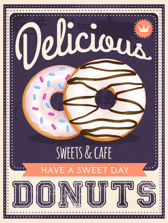 baked goods: vector vintage styled donuts poster Illustration