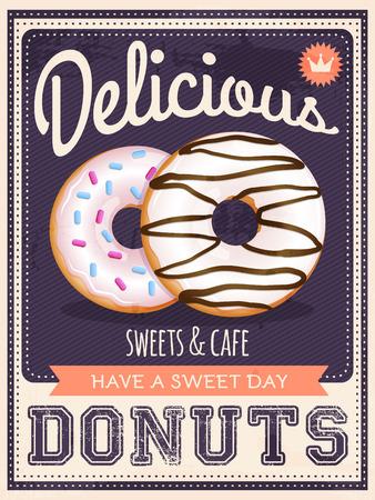 baked: vector vintage styled donuts poster Illustration