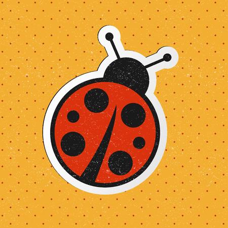ladybug: vector retro ladybug sticker Illustration