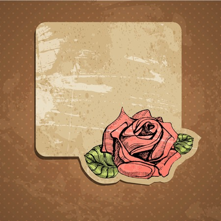 vector greeting card with a hand drawn rose