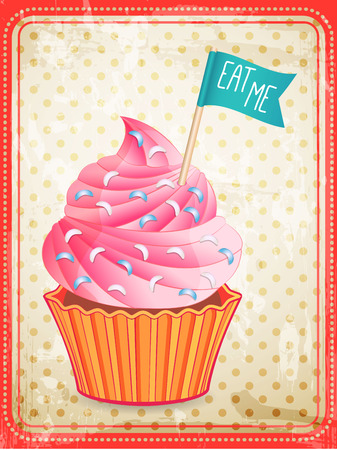 eat me: vector cupcake with eat me sign