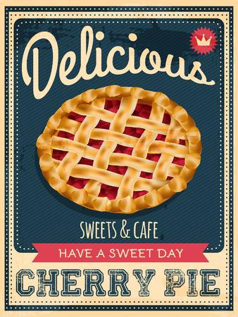 tarte aux cerises: Vector vintage affiche de tarte aux cerises de style