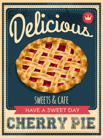 vector vintage styled cherry pie poster Imagens - 37001698