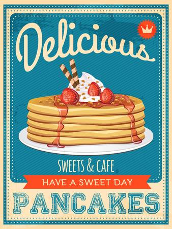 petit dejeuner: Vector vintage style d'affiche de cr�pes