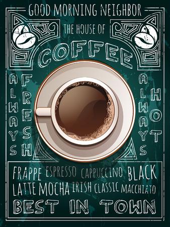 tazas de cafe: Vector de la taza de caf� en el men� de la pizarra