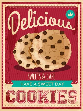 벡터 빈티지 스타일 쿠키 포스터