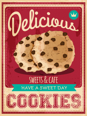 vector vintage styled cookies poster Imagens - 37001705