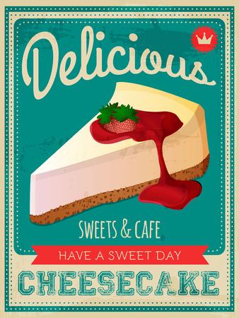 ベクトル ビンテージ スタイルのチーズケーキ ポスター