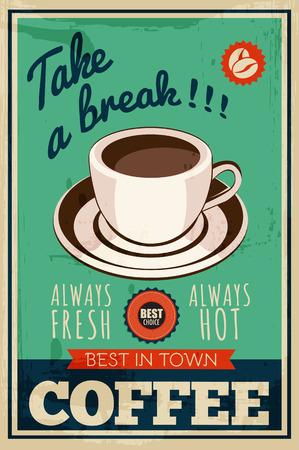 grano de cafe: Vector del cartel del café de la vendimia Vectores