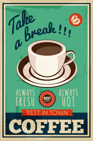vector vintage coffee poster Stock Illustratie