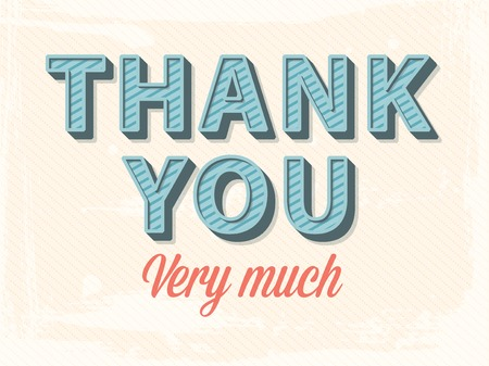 thank you note: vector thank you greeting card Illustration