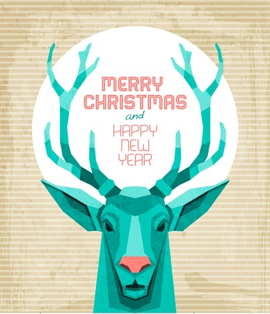weihnachten vintage: Weinlese-Rotwild-Weihnachtskarte
