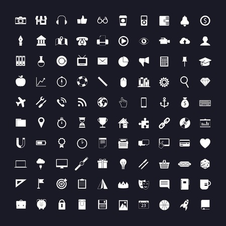 universal icons: 100 vector universal icons