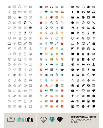 300 vector universal icons made in outline, color and black Vector
