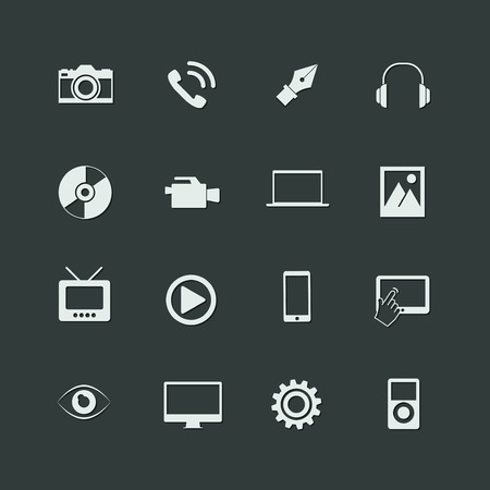 multimedia pictogram: vector multimedia icons